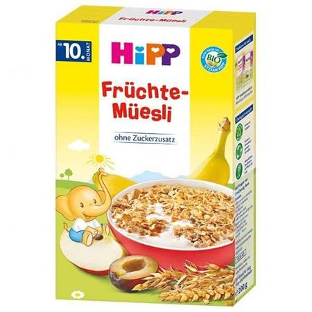HIPP, Musli BIO, banan, jabłka i śliwki, bez dodatku cukru, od 10 miesiąca, 200 g